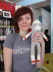Kimberly Malysheff and her unnamed sock monkey