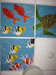 The view from the table: Ceiling tiles painted by one of the radiation technologists