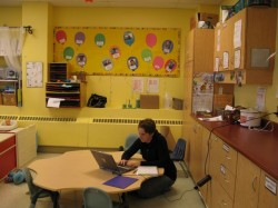 Youville child care staff in a quiet moment